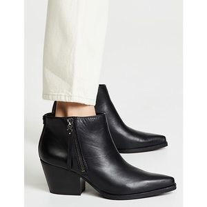 Walden Bootie Black Leather Pointed Toe Western